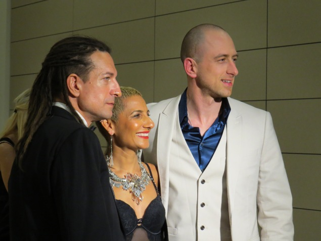 The artist (far right) and Mandy Carnahan, Fashion Consultant (centre) with her husband